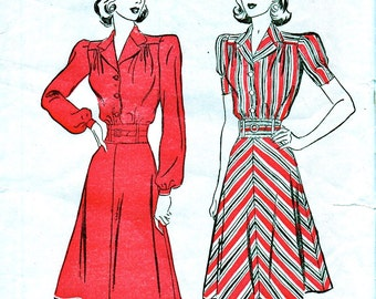UNCUT 1940s Sewing Pattern - Vintage Advance 2649 - LOVELY Tailored Day Dress and Belt with Sleeve Options - Size 16 Bust 34