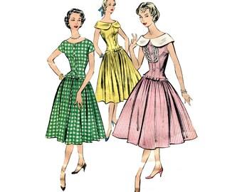 1950s Drop Waist Dress Pattern Full Skirt Long Bodice Bust 32 OR 31 Vintage Sewing Pattern Day Dress  Advance 8575 Short Sleeve Sleeveless