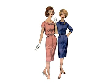 1960s Slim Skirt Dress Pattern Low Neckline or Yoked Roll Cowl Collar Kimono Sleeves Vogue 5156 Bust 34 Vintage Sewing Pattern