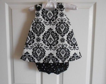 Black and white damask sundress and polka dot diaper covers bloomers baby and infant size 0-24 month