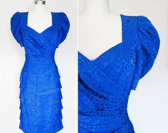 Vintage 80s Blue Silk Party Dress by AJ Bari sz M