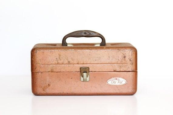 Vintage Old Pal Metal Tackle Box Orange Rust by vintageavacado