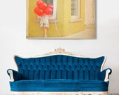 Fine Art Canvas Gallery Wrap Giclee Print Little Girl Finished Ready to Hang Red Balloons Yellow Brick Nursery Baby Girl Wholesale