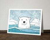 Polar Bear Card - illustrated Christmas holiday card, animal stationery