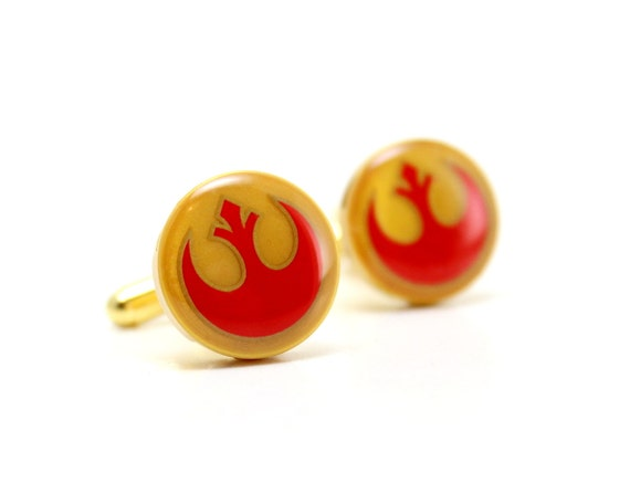 Cufflinks for Geeks - made from LEGO® Star Wars Alliance Starbird Decals, Custom Cufflinks for Men and Geeks