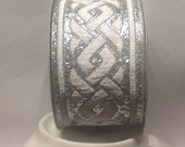 50 mm. CELTIC KNOT   Silver Jacquard Ribbon Trim Embellishment