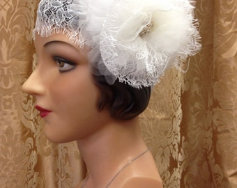 GATSBY Flapper 1920's Vintage Inspired Chantilly Lace Cap Hat Headpiece