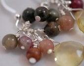 Lemon Quartz briolette with Tourmaline gemstone earrings. Sterling silver, wire wrapped, briolette drop earrings, gemstone clusters.