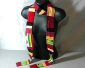 Rasta Skinny Scarf made from cotton and fleece scraps
