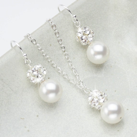 Pearl Jewelry Set Necklace and Earring Set Wedding jewelry