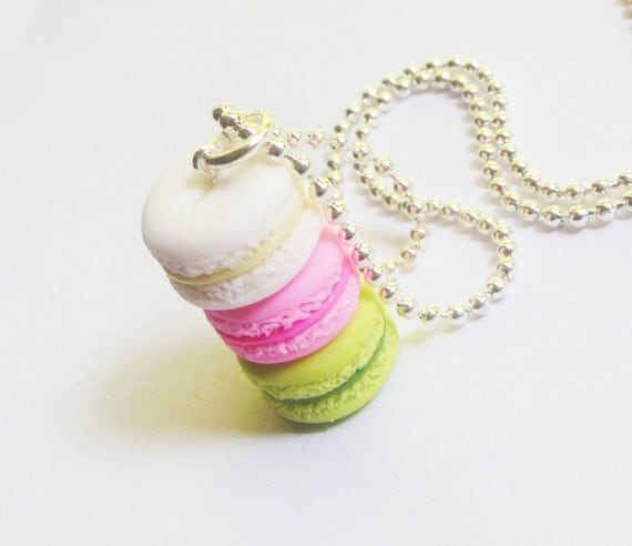polymer clay french macaron stack necklace lime strawberry coconut