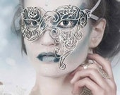 White Leather Snowflakes Asymmetrical Masquerade Masks - Ice Queen - WINTER ZEPHYR