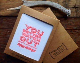 HOL-142-6 Set of Six - You Better Watch Out NSA watching Holiday letterpress cards