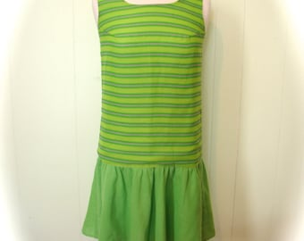Vintage 60s Dress Mod Green and Pink striped Go Go Dress S - on sale