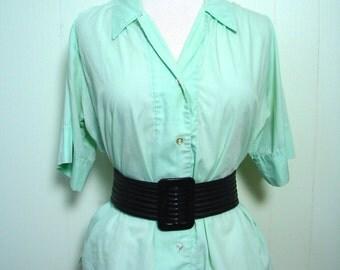 Vintage 50s Top Mint Green Shirt, Cuff Sleeve Top XL XXL PLUS - on sale