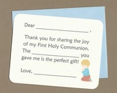 First Holy Communion - Fill in the Blanks Thank You Notes - Praying Boy