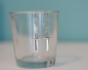 Silver Dagger Earrings