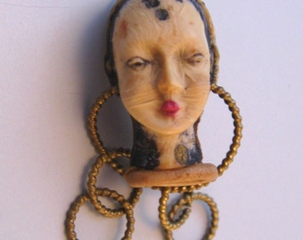 Celluloid Lady Head Brooch Vintage Pin