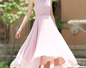 Pink chiffon dress - women maxi dress wedding dress - custom made (1009)