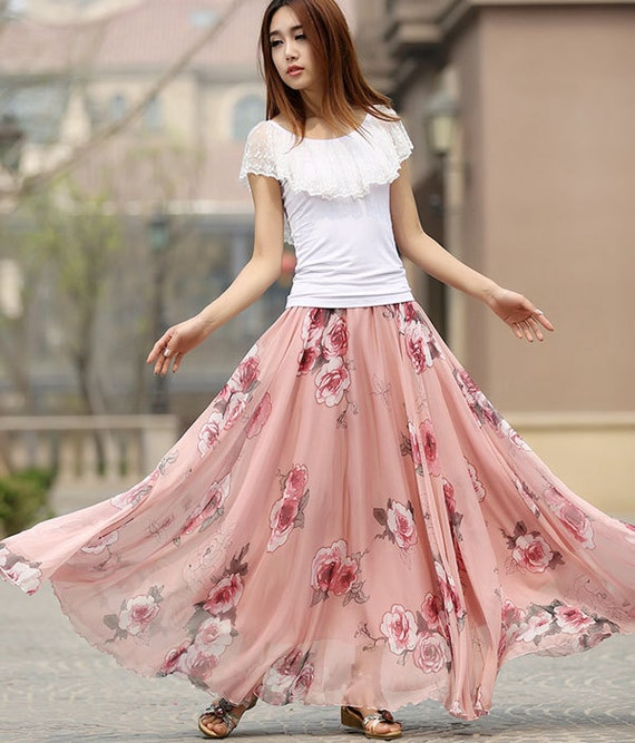 floral maxi skirt, Maxi chiffon skirt flower print women skirt long skirt, Floral skirt,maxi skirt, custom skirt, fall gifts, plus size 936