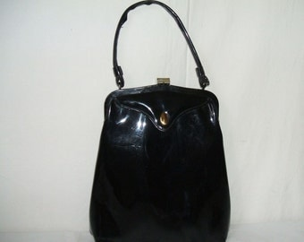 1960's Patent Leather Purse  Structured Oblong Pocketbook New York City