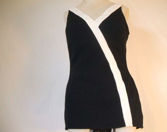 Roxanne Black And White Swim Suit Bathing Suit Perfection Fit Vintage Size 18