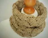 Toasty Oaty Lace Knit Snood Infinity Scarf - Mens or Womens Hand Dyed Organic Accessory - Naturally Dyed - Ready to Ship