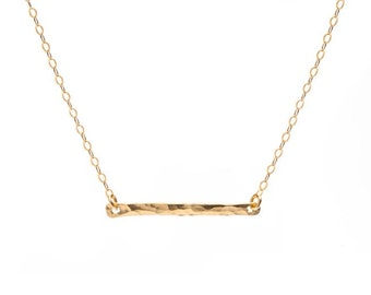 Hammered Bar Necklace | 14kt Gold Filled Bar Necklace | Delicate Minimalist Jewelry | Layered Necklace