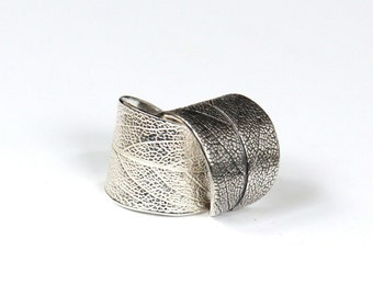 Sage leaf ring adjustable sterling silver. Shiny or antiqued wide ring, sizes 5-7.5 and 12 and higher