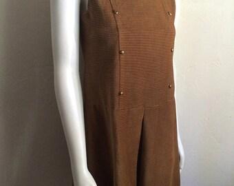 Vintage Women's 60's Dress, Corduroy, Brown, Sleeveless, Mod by Russ (XS)