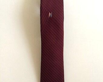 Vintage Neckties Men's 80's Paco Rabanne, Skinny Tie, Burgundy, Striped, Mod, Mad Men