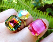 Set of 3 Swarovski Crystal Vintage Czech Glass Cocktail Rings Old Hollywood Glam Bridesmaid Gift Custom Colors Sizes
