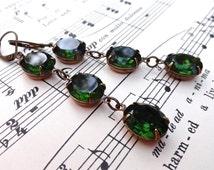 Triple Drop Swarovski Green Tourmaline Earrings Bridal Bridesmaids