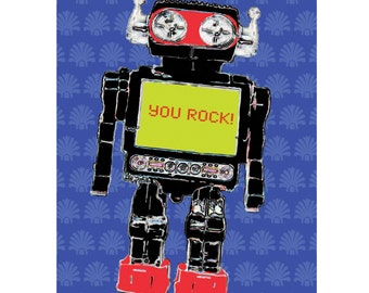 Colourful Vibrant ROCK Robot 60s Retro Style Print Wall Art  A4