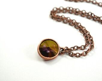 Purple Crystal Necklace, Antiqued Copper Purple Necklace, Swarovski Crystal Necklace