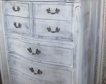 Dresser French Provincial Tallboy Serpentine Front Vintage  S h a b b y French Style Poppy Cottage Painted Furniture