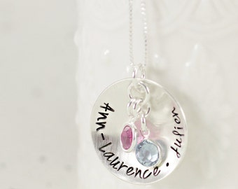 Kids Names Birthstone Necklace- Sterling Silver - Mothers Necklace for Childrens Names with Birthstone Crystals, Mothers Day