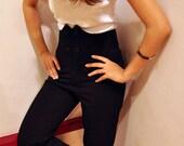 High Waist Trousers Petite Black Pants Dress Suit Tuxedo Work Bottom Fall Fashion Etsy Gift