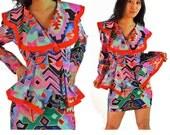80s Aztec Print Peplum Dress Vintage Kitschy Tribal Print Mini Skirt Suit & Peplum Jacket Sailor Collar Ruffle Peplum Secretary Dress XS / S
