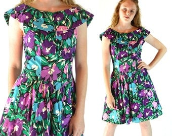Vintage 80s Dress Romantic FLORAL Drop Waist Full Skirt Summer Mini Dress Off Shoulder Collar Tulle Underskirt 1980s Sun Dress S / M