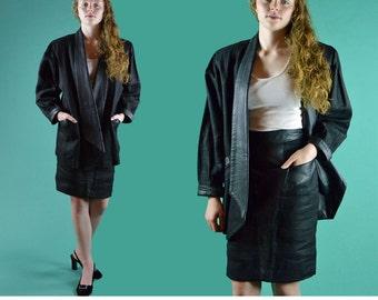 80s Black LINEN Skirt SUIT Slim Pencil Skirt &  Cocoon Jacket Faux Leather Trim Taper Sleeve High Waist Vintage Skirt Womens Suit S / M