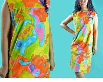 Retro Dress 60s Mod Dress PSYCHEDELIC Mini Dress / Mod Twiggy Tent Dress Sleeveless Summer Dress / Shift Dress Retro Floral Neon Minidress M