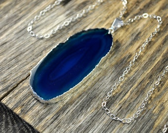 Agate Necklace, Teal Agate Necklace, Agate Slice Pendant, Agate Slice Necklace, Agate Silver Necklace, Sterling Silver Chain