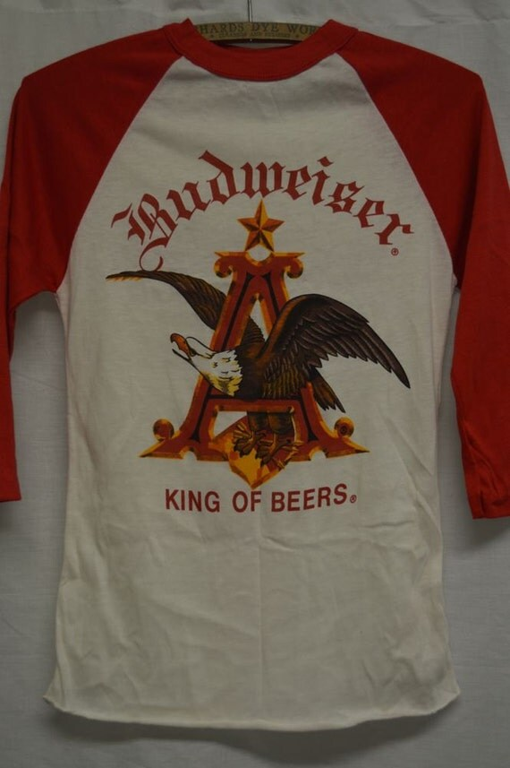 Vintage budweiser beer t shirt old stock sz s baseball style for Vintage miller lite shirt