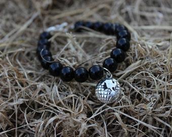 Black Beaded World Charm Bracelet.