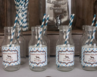 Rocking Horse Water Bottle Labels - Blue Rocking Horse Baby Shower Decorations in Blue and Brown (12)