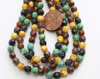 20% OFF Picasso Opaque Mix, Czech Beads Fire Polished 6mm 25 Faceted Round GLass