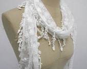 Polyester Rayon Lace with Lace Trimming Scarf ,White Color,Summer scarf