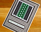 For My Brother Handmade Cross Stitch Card Assisi Style Black and White & Green