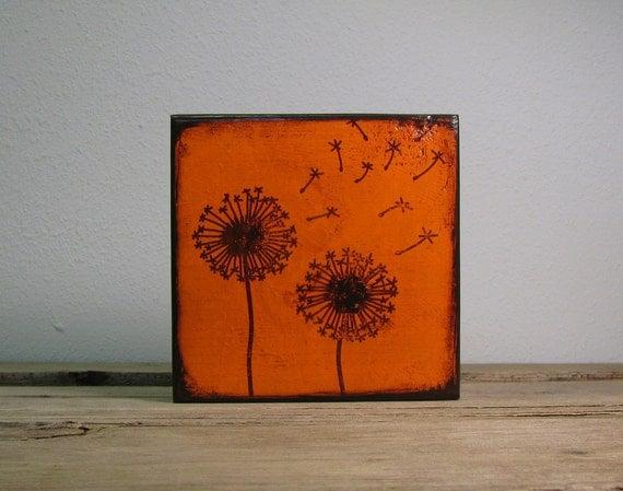Orange Dandelion Flowers Painted Art Block---MatchBlox The Mix and Match Art Blocks -1757
